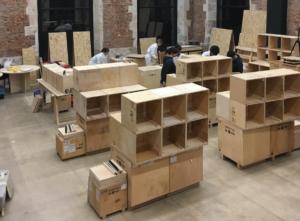 Gamesa Gearbox Lerma contribuye a la creación del mobiliario sostenible del espacio La Estación